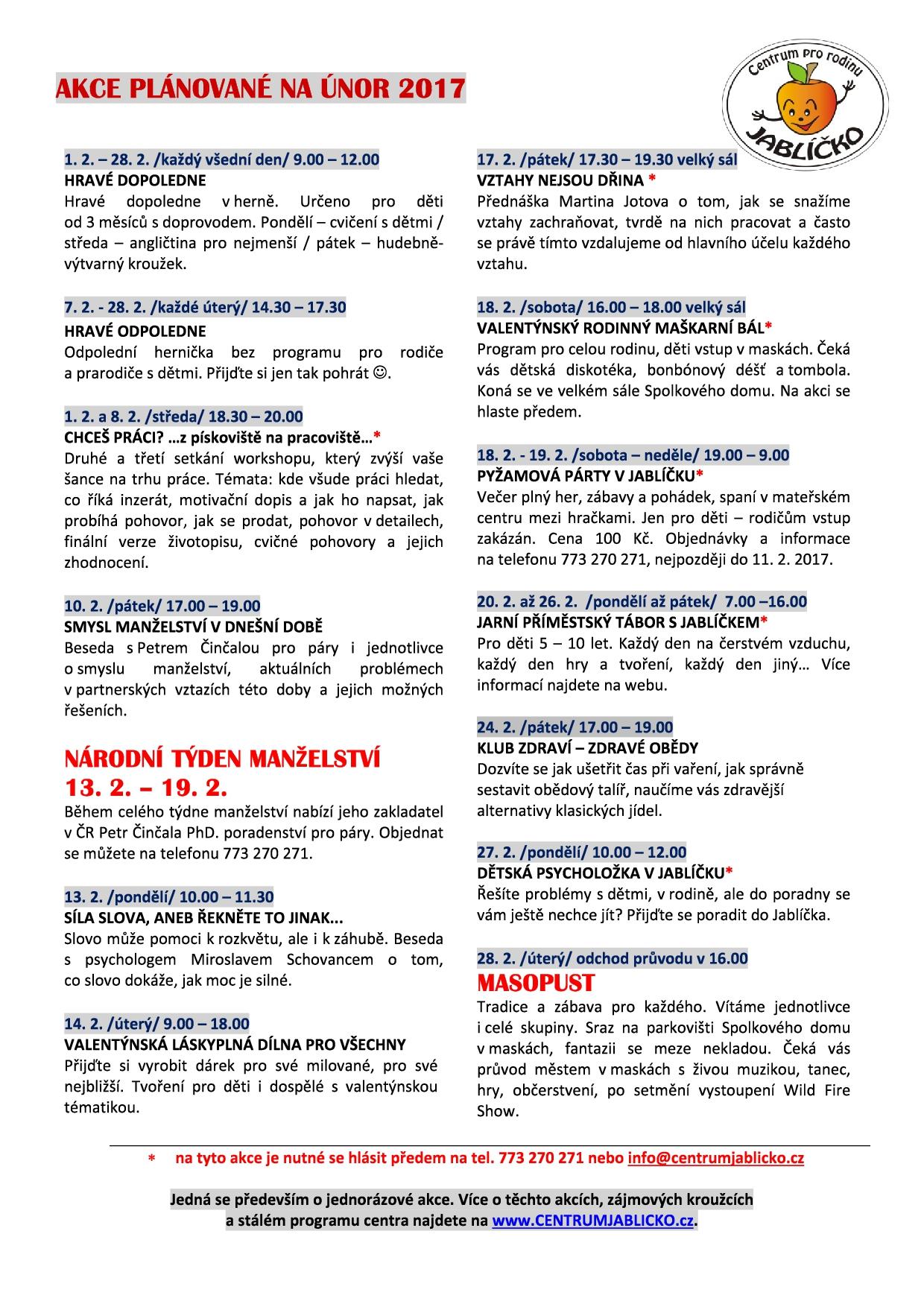 Jablicko Centrum Pro Rodinu Program Na Unor 2017
